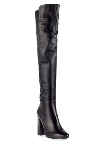 Pier Lucci Deri Topuklu Çizme Siyah